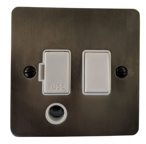 G&H FSL56W Flat Plate Slate 1 Gang Fused Spur 13A Switched & Flex Outlet